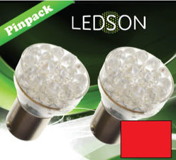LED-LAMP ROT - 360  13 DIODE  P21/5W BAY15d