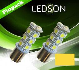 LED-LAMP GELD/ORANGE 360 P21W 18SMD BA15s